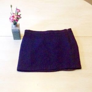 Midnight Blue Wool Tapestry Mini Skirt